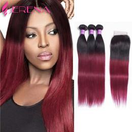 Wholesale Wine Hair Color - 1b 99J Brazilian Virgin Hair Straight With Closure 1b Burgundy Ombre Hair With Closure Wine Red Hair Bundles With Silk Closures