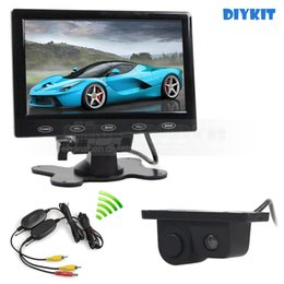 Wholesale Car Button Sensor - Wireless 7inch Touch Button Ultra-thin Car Monitor + Rear View Car Camera Wireless Parking Radar Sensor Assistance System