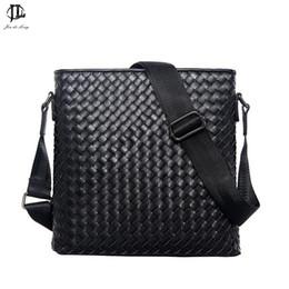 Wholesale Fashion Briefcases - Wholesale- New Men Genuine Leather Briefcase Computer Laptop Bag Brands Business Weave Messenger Portfolios Daily Handbag Travel Bags
