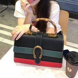 Wholesale White Black Flower Handbags - 2017 High Quality Women Handbag Vintage Women Designer Handbags Leather Women Shoulder Bag Bamboo Fashion Tote Bags