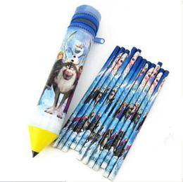 Wholesale Princess Set Pencil - Wholesale-12pcs Pupils ice princess HB pencil pencil primary school children pencil stationery pencil Pen Set