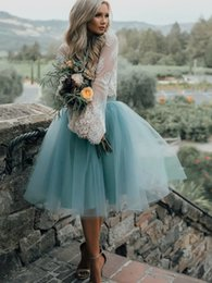 Wholesale Teal Blue Homecoming Dress - 2017 Vintage Lace Long Sleeves 2 pieces Homecoming Dresses Short Teal Tulle Puffy Skirts Prom Dress Knee Length Graduation Party Dress