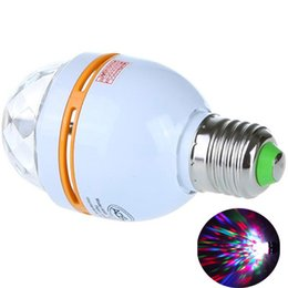 Wholesale E27 Led Blue - Dazzling E27 3W RGB LED Laser Stage Light Crystal Magic Ball Effect Colorful Bulb Roating Lamp for KTV Party DJ Disco House Club