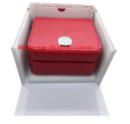 Wholesale Square Red Box Watch Papers - High Quality FREE SHIPPING Luxury WATCH BOX New Square Red Box For Watches Booklet Card Tags And Papers In English