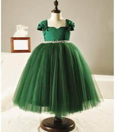 Wholesale Actual Photo Knee Length Dress - green beading communion dresses customized handmade flower girls dresses for party and wedding actual pictures free shipping