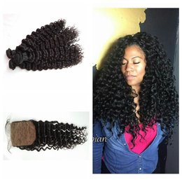 Wholesale Malaysian Curly Silk - Unprocessed Curly Hair Weaves With Closure 4pcs Virgin Malaysian Human Hair Bleached Knots Silk Base Closure Bundles G-EASY
