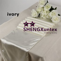 Wholesale Ivory Satin Table Cloths - Best Quality Ivory Color Satin Table Runner \ Banquet Table Runner For Wedding Used On Table Cloth