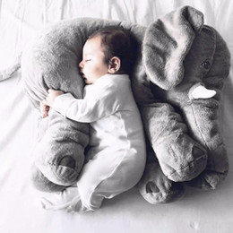 Wholesale Large Plush Stuffed Animals Wholesale - Wholesale- Large Plush Elephant Toy Kids Sleeping Back Cushion Elephant Doll Baby Doll Birthday Gift Holiday Gift Stuffed & Plush Animals