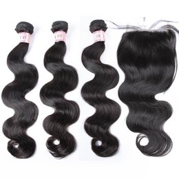 Wholesale Indian Stocks - Big Sale!!! Within Large Stock Indian Temple Remy Hair Body Wave Human Hair Bundles Within One Free Top Lace Closure