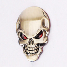 Wholesale Devil Car Bumper Stickers - OTOKIT 1PC Zinc Alloy Devil Skull Car Stickers Decals Auto Bumper Stickers Car-styling 3D Chrome Stickers Moto Motorcycle Decal