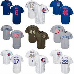 Wholesale Chicago Blue Grey Red - Mens Chicago Cubs Jersey 9 Javier Baez 34 Jon Lester 40 Willson Contreras 68 Jorge Soler 70 Joe Maddon 71 Wade Davis Baseball Jerseys