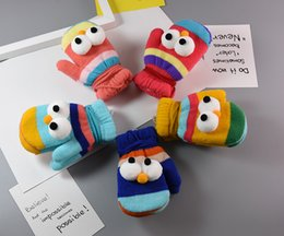 Wholesale Yellow Mittens - Children's anti-wind rope gloves children's cartoon big eye gloves autumn and winter baby warm and thickly added gloves