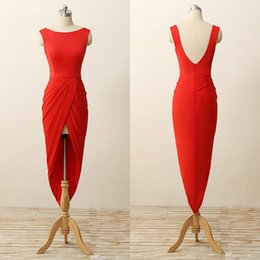 Wholesale Hi Lo Backless Dress - 2017 Real Picture Red Short Sheath Prom Dresses Scoop Backless Cheap Sexy Simple Hi-Lo Ployester Party Pageant Cocktail Gowns Actual Image
