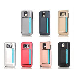 Wholesale S4 Protect Case - Newest Hybrid Creative Card Case For Samsung S4 S5 S6 Edge S7 NOTE 4 5 Soft TPU + Hard PC Double Layer Protect Cover DHL
