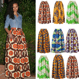 Wholesale flare maxi skirt - Dashiki Beach Bohemian Pleated Swing Plus Size High Waist Ball Gown Floral African Print Maxi Flared Skirt