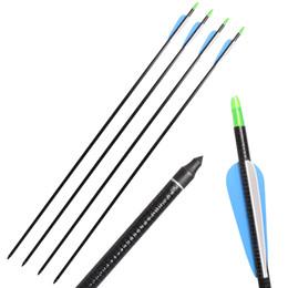 Wholesale Fiberglass Arrows - 12pcs Huntingdoor Fiberglass Shaft Arrows 31 Inch Archery Hunting Target Arrows with Replacement Screw-In Field Points