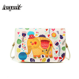 Wholesale Patterns Cell Phone Pouch - Wholesale- 2016 Women Printed Shoulder Cartoon Pattern Hasp Lady Messenger PU Leather Small Vintage Phone Pouch Bag Korean National Style