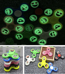 Wholesale Mini Toy Top - 2017 Hot selling Glow Emoji Fidget Spinners Triangle Design Hand Spinner EDC Toys For Decompression Anxiety Stainless Steel Spinning Top