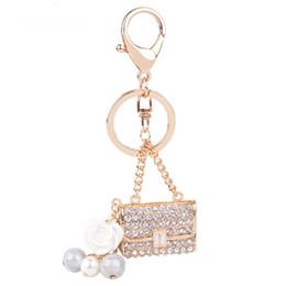 Wholesale Crystal Wedding Keychain - Handbag Lady Girl Cute Crystal Charm Purse Handbag Car Key Keyring Keychain Party Wedding Favor Delicate Gift DHL Free Shipping
