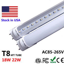 Wholesale Dlc Led Tube - 4ft LED Tube T8 4 ft 4Feet LED Light Fixture 18W 22W 28W LED Shop Lights Fluorescent Lamp UL DLC FCC CSA