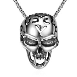 Wholesale Titanium Skull Pendants - Hot sale rock wind Skull Pendant Necklace jewelry Titanium fashion chain free 316L stainless steel vintage pendant necklace