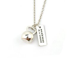 "Wholesale Kettlebell Jewelry - Wholesale-Weights & Fitness Necklace Silver ""Weakness is a choice"" Kettlebell Necklaces for Best Friend Collares GYM Jewelry 2016"