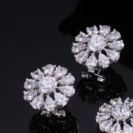 Wholesale Gold Han - Women stud earrings AAA zircon flower lovely han edition dress high quality joker earrings with free shipping
