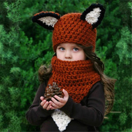 Wholesale Knitted Spring Scarves - Everweekend Cute Girls Windproof Knitted Fox Ear Hats and Scarf 2pcs Sets Cute Children Winter Accessories Brown Color Caps