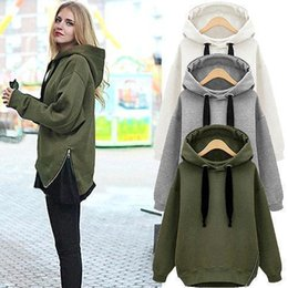 Wholesale Korean Zipper Jackets Hoodies - Free Shipping Arm Green New Winter Autumn Loose Hooded Jacket Plus Size Thick Velvet Long sleeve Sweatshirt Korean Style Hoodies OXL092901