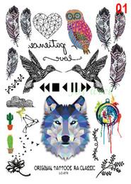 Wholesale Tattoo Stickers For Kids - Wholesale- Waterproof Temporary Tattoo Sticker wolf owl bird feather dream catcher Water Transfer Flash tattoo Fake Tattoo for men girl kid