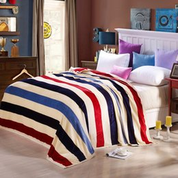 Wholesale Stripe Coral Fleece Blanket - Stripe Printed Coral Fleece Blankets for Adult kids Home Textile Throw on The Bed sofa car Twin Full Queen blanket Throw