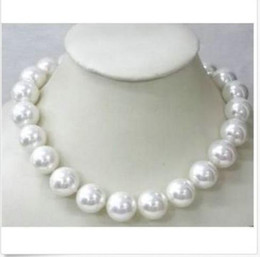 Wholesale 14mm Pearls - classic 14mm south sea round white shell pearl necklace 18inch