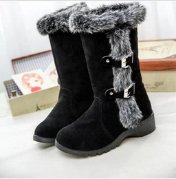 Wholesale Sheepskin Knee Warmers - Hot sales Europe and the United States 2017 autumn and winter women frosted rabbit hair drums long tube plus cashmere warm boots boots with