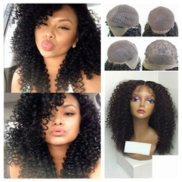 Wholesale Baby Tangle - Cheap Best Quality Kinky Curly Wig Synthetic Lace Front Wig With Baby Hair Natural Black Tangle Free Synthetic Lace Front Wigs