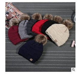 Wholesale Skull Fedoras - CC Hats Unisex Women Men Winter Knitted Fur Poms Beanie Fedora Cable Slouchy Skull Caps Fashion Leisure Beanie Outdoor Hats 9 Colors