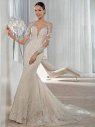 Wholesale Dress Demetrios Mermaid - 2017 Exquisite Long Sleeve Mermaid Wedding Dresses Lace Applique Sequined Covered Button Bridal Gowns Demetrios Bride Dress