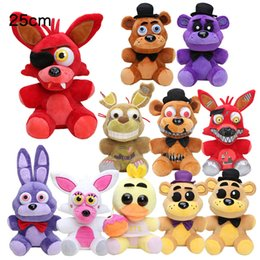 Wholesale Dolls Stuffed Toys - 25cm Five Nights At Freddy's toy FNAF Nightmare Fredbear Golden Freddy plush Fazbear Bear foxy Bonnie Chica Plush Toys soft stuffed doll