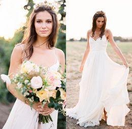 Wholesale Sexy Wedding Dresse - 2017 Sexy Beach Wedding Dresse Plunging V-Neck Spaghetti Straps Backless Sleeveless Open Back A Line Chiffon Bridal Gowns