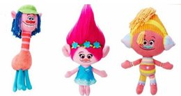 Wholesale Christmas Hand Work - EMS Movie Trolls Doll Plush Toy 23CM Poppy Branch Dream Works Stuffed Cartoon Dolls The Good Luck Trolls Christmas Gifts For Children