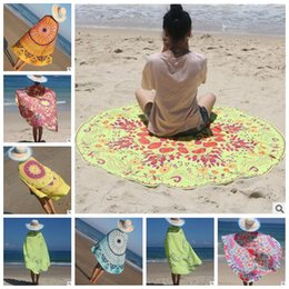 Wholesale Table Cloth Covers Wholesale - 54 Designs Round Beach Towel Totem Feather Printed Table Cloths Summer Beach Cover Up Shawl Blanket Polyester Beach Towel CCA5819 20pcs