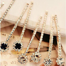 Wholesale Clips For Plating - New Fashion luxury Long Rhinestone Hair Clip Fashion stones Hair Jewelry For Women Crystal Hair Accessories 7 colors to choose from