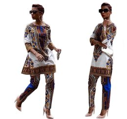 Wholesale Womens Purple Suits - 2016 New African fashion design dress Suits S-XXXL Plus Size Womens Traditional Print Dashiki National Half-Sleeved Two Pieces Set