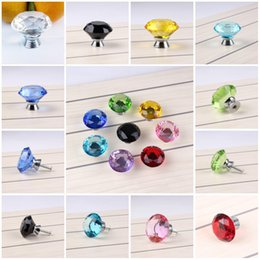 Wholesale Colorful Drawer - 40mm Diamond Door Shiny Crystal Colorful Glass Pull Drawer Cabinet Furniture Drawer Handle Knob Screw Hot Worldwide 9 Color C76L