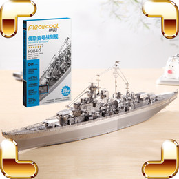 Wholesale Military Aircraft Toys - New Arrival Gift Bismarck Battleship 3D Model Metal Assemble DIY Game Toys Military Ship Collection IQ Educational Decoration