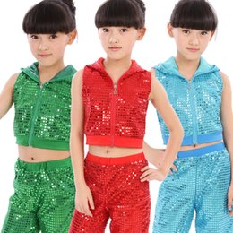 Wholesale Dance Costume Child Hip Hop - New Sequined Jazz Dance Hip hop Costumes Stage Performance Clothing Boys and Girls Holiday Show Children Stage Wear Tank +Pant