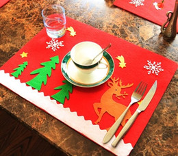 Wholesale Reindeer Christmas Crafts - Christmas Table Cloth Cutlery Mat Christmas Tree Elk Reindeer Printed Placemat Home Party Table Decor Eat Mat Xmas Crafts Gift YFA46