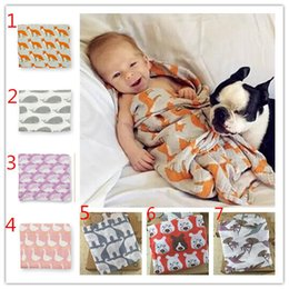 Wholesale Organic Baby Blankets Wholesale - INS Baby Wrap Organic cotton blanket Multifunctional Muslin Baby Newborns Blanket Baby Swaddle Blanket with cute boxes 120*120cm A 080