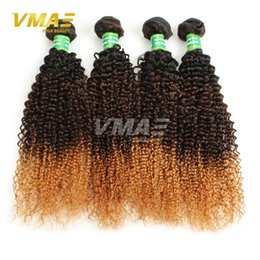 Wholesale Good Wavy Hair Weave - 1b 4 27# Good Hair Brazilian Ombre Kinky Curly Hair Extensions Three Tones Ombre Weave 3pcs Brazilian Wet and Wavy Cheap Hair