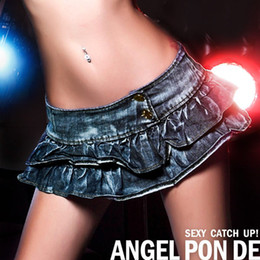 Wholesale Sexy Jeans Skirts - 2017 Sexy NightClub DS Pole Dancing Mini Skirt Blue Denim Jeans Shorts Disco Low Waist Hole Tassel Skinny Jeans Hot Girl Pure Color Short