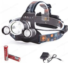 Wholesale Cree Q5 Led Headlamp - ED Headlight 3 LED Cree T6 Q5 Head Lamp High Power 4000LM Flashlight+18650 battery+Power supply Charger free shipping MYY